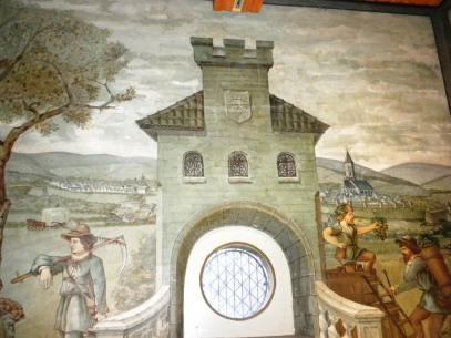 Die Entwürfe der Wandbilder stammen wahrscheinlich von Daimler selbst.