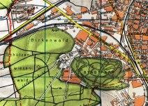 Stadtplan von 1947. Das Areal des Lagers Schlotwiese ist als bebaute Fläche ausgewiesen.